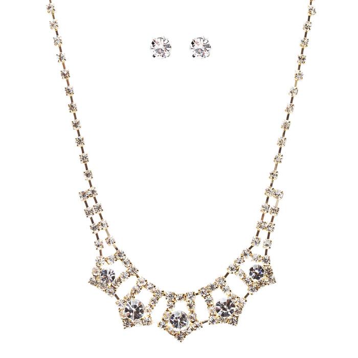 Bridal Wedding Jewelry Crystal Rhinestone Enticingly Elegant Necklace J579 Gold