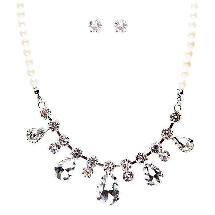 Bridal Wedding Jewelry Crystal Rhinestone Captivating Tear Drop Necklace J580 SV