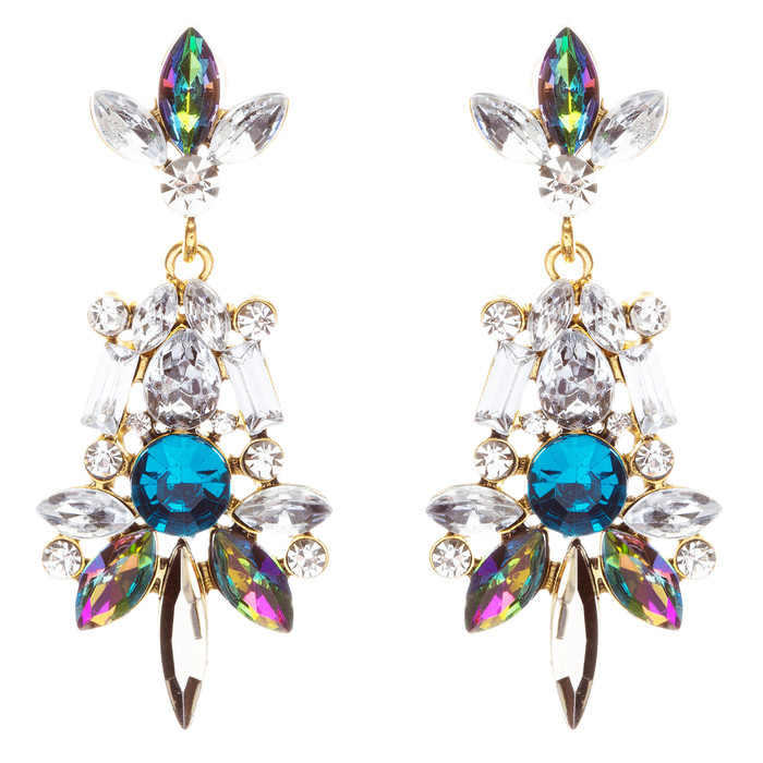 Striking Fashion Crystal Rhinestone Rare Elegant Dangle Earrings E827 Multi