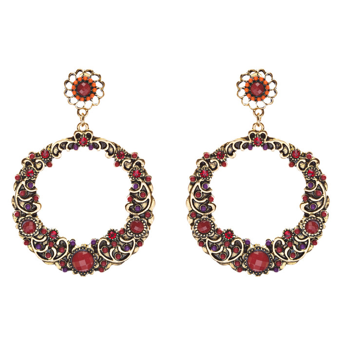 Striking Fashion Crystal Rhinestone Intricate Arrangement Earrings ER828 Red