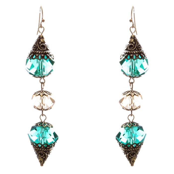 Trendy Fashion Crystal Rhinestone Stylish Pointed Tear Drop Earrings E829 Green