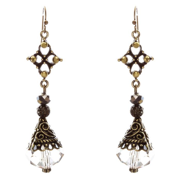 Fashion Chic Crystal Rhinestone Unique Tear Drop Dangle Earrings E830 Brown