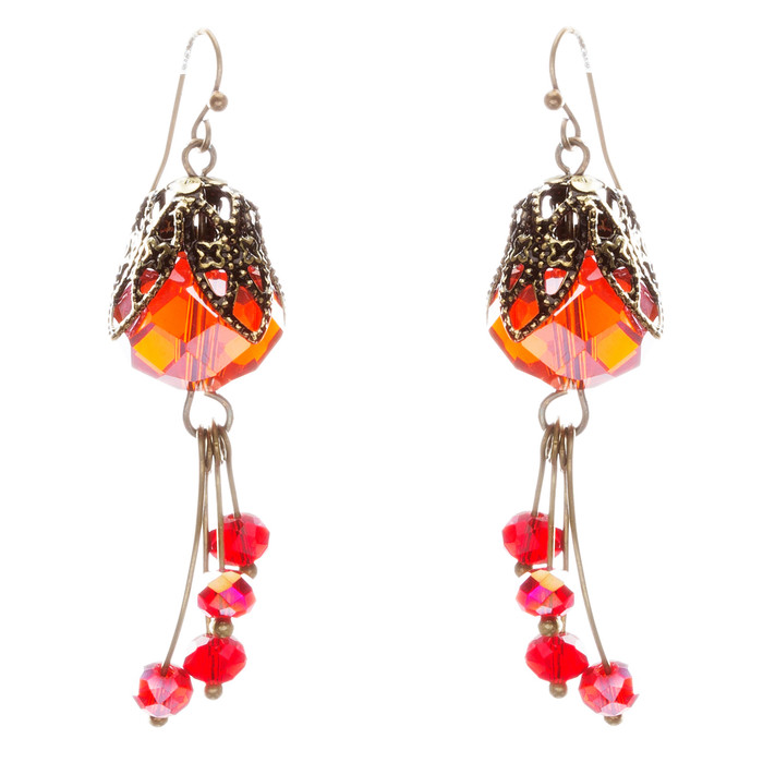 Fashion Chic Crystal Rhinestone Charming Gold Plate Dangle Earrings E831 Red