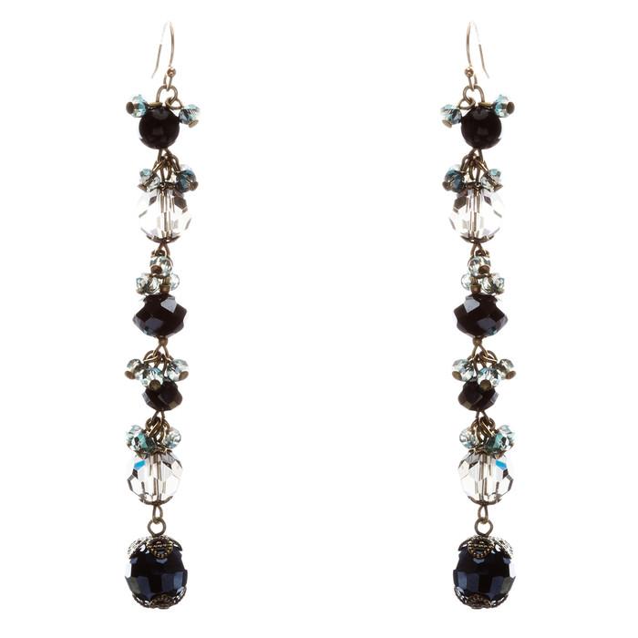Modern Trend Crystal Rhinestone Charming Linear Dangle Earrings E832 Black