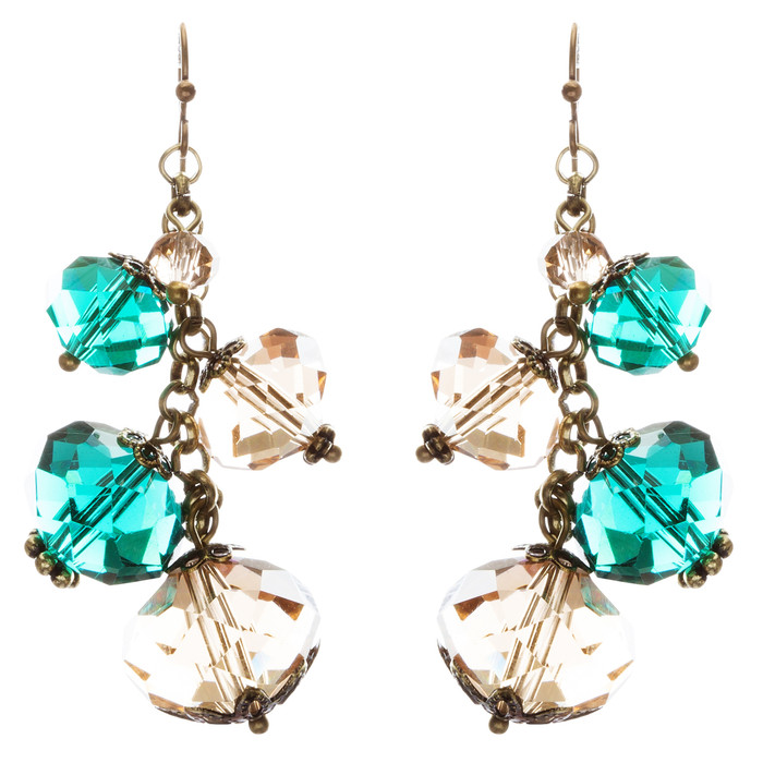 Modern Fashion Crystal Rhinestone Cute Cluster Design Dangle Earrings E833 Green