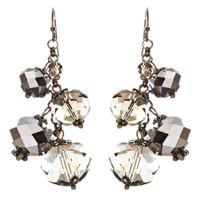 Modern Fashion Crystal Rhinestone Cute Cluster Design Dangle Earrings E833 Gray