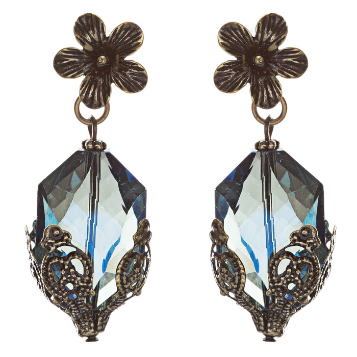 Contemporary Fashion Uniquely Charming Floral Design Dangle Earrings E835 Blue