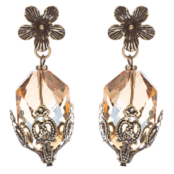 Contemporary Fashion Uniquely Charming Floral Design Dangle Earrings E835 Brown