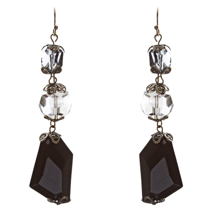 Contemporary Fashion Extraordinary Charms In Various Shapes Earrings E837 Black