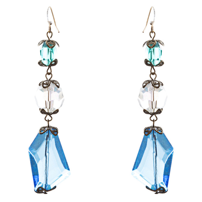 Contemporary Fashion Extraordinary Charms In Various Shapes Earrings E837 Blue