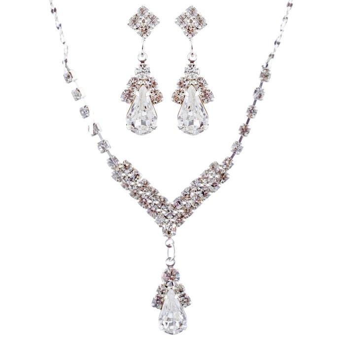 Bridal Wedding Jewelry Set Crystal Rhinestone Necklace V Teardrop Silver Clear