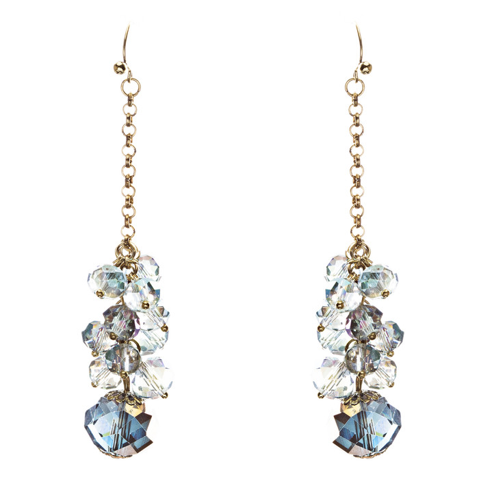 Trendy Design Crystal Rhinestone Lovely Cluster Balls Dangle Earrings E846 Blue