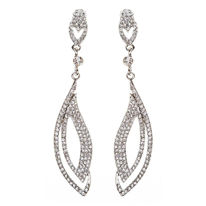 Bridal Wedding Jewelry Crystal Rhinestone Elegant Engrossed Earrings E725 Silver