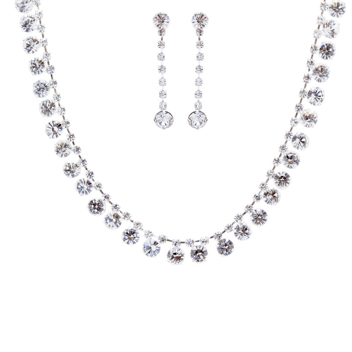 Bridal Wedding Jewelry Set Crystal Rhinestone Dazzle Drops Necklace Silver Clear