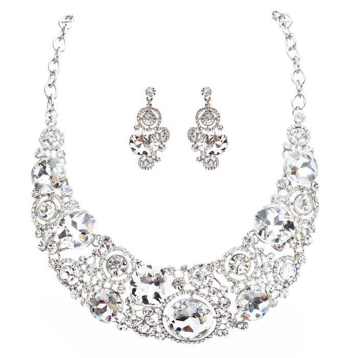Bridal Wedding Jewelry Crystal Rhinestone Spellbinding Bib Necklace J506 Silver