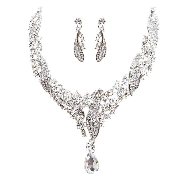 Bridal Wedding Jewelry Crystal Rhinestone Beautifully Crafted Necklace J508 SLV