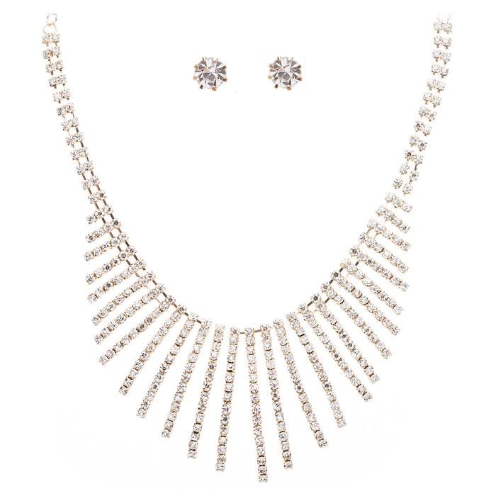 Bridal Wedding Jewelry Crystal Rhinestone Sparkling Embroidered Necklace J502 GD