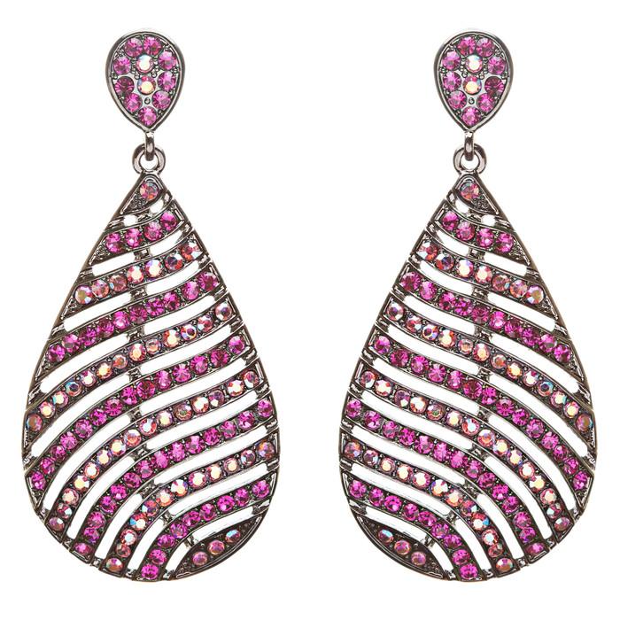 Modern Fashion Crystal Rhinestone Stunning Leaf Design Dangle Earrings E729 Pink