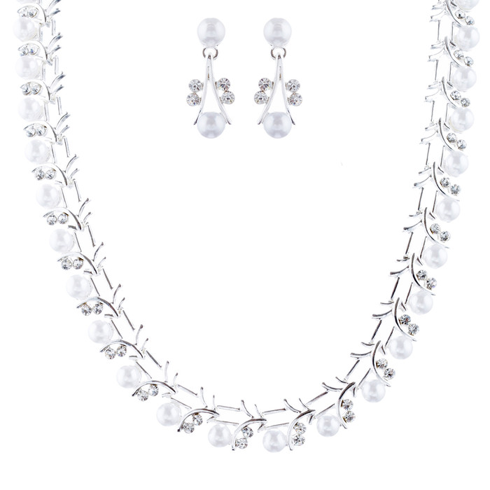 Bridal Wedding Jewelry Set Crystal Rhinestone Pearl Sophisticated Silver White