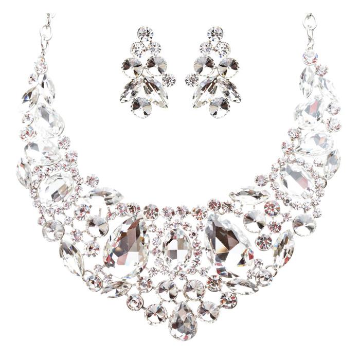 Bridal Wedding Jewelry Crystal Rhinestone Beautiful Embroidered Necklace J513SV