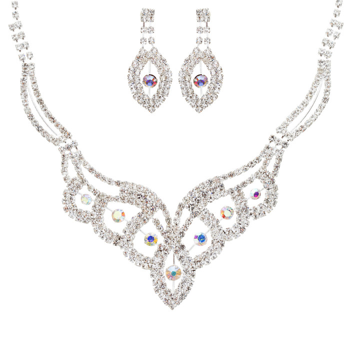 Bridal Wedding Jewelry Crystal Rhinestone Dazzling Contour Necklace J544 Silver