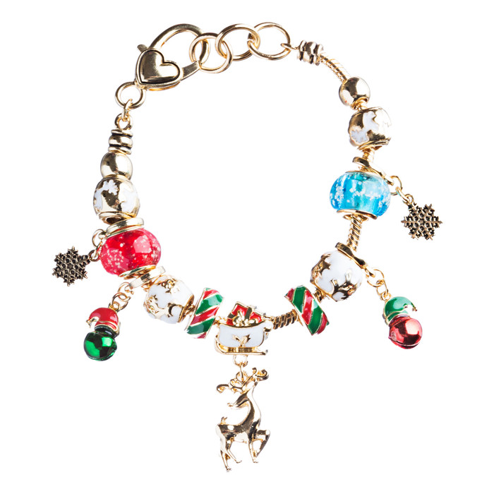 Christmas Jewelry Adorable Glass Beads Colorful Charm Link Bracelet B488 Multi
