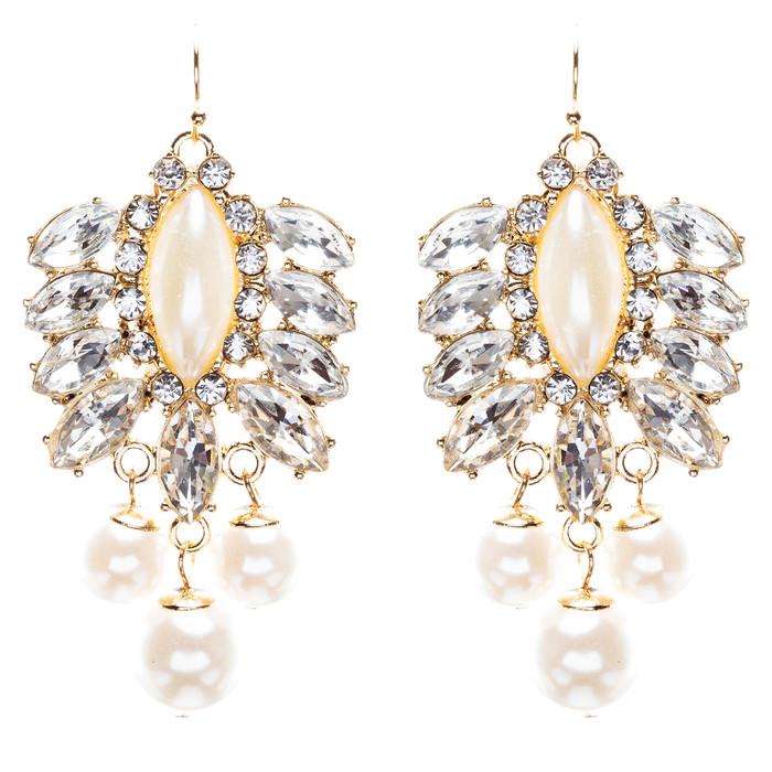 Elegance Fashion Crystal Rhinestone Grand Design Dangle Earrings E813 White