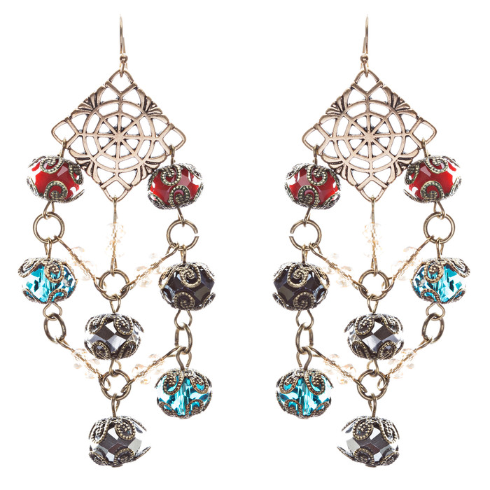 Bold Fashion Extraordinary Beaded Charms Design Dangle Earrings E853 Multi