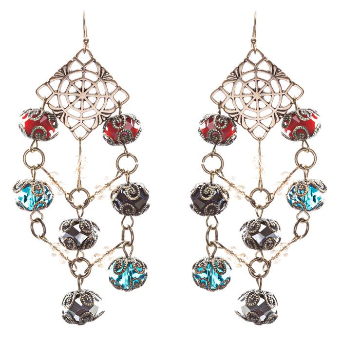 Bold Fashion Extraordinary Beaded Charms Design Dangle Earrings E853 Multi
