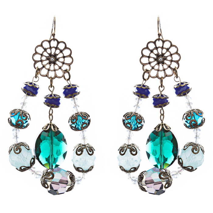 Bold Fashion Unique Beaded Charms In Tear Drop Statement Earrings E854 Blue