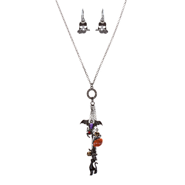 Halloween Costume Jewelry Assorted Spooky Charms Necklace Set JN255 Multi