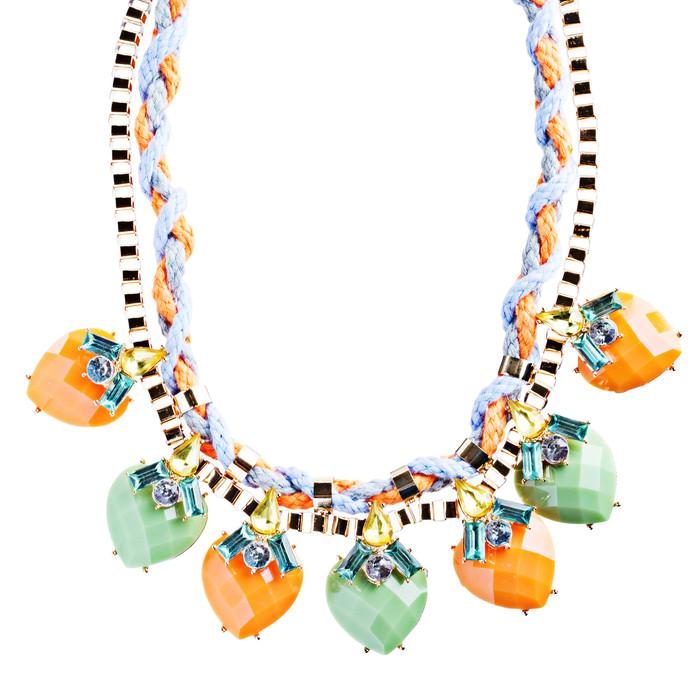 Modern Fashion Crystal Rhinestone Vibrant Heart Shape Necklace Set N75 Multi