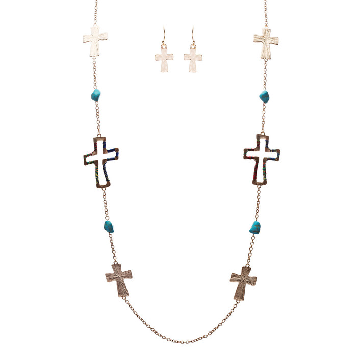 Cross Jewelry Simple Yet Fascinating Spiritual Charm Necklace Set JN223 Multi