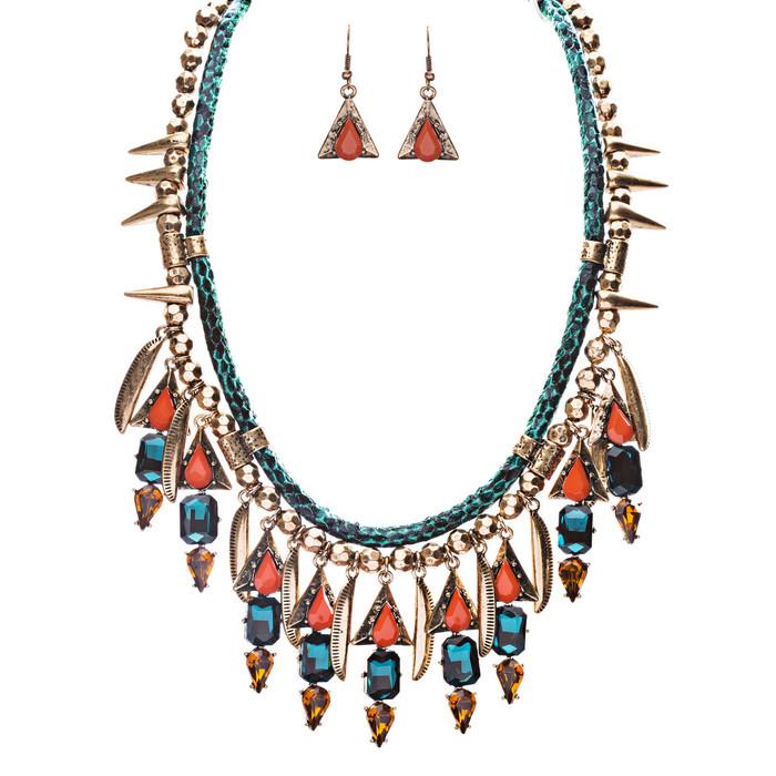 Tribal Fashion Crystal Rhinestone Daring Charm Necklace And Earrings JN224 Blue
