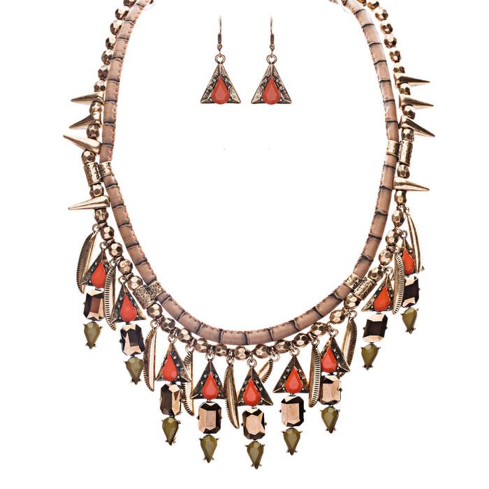 Tribal Fashion Crystal Rhinestone Daring Charm Necklace And Earrings JN224 Green