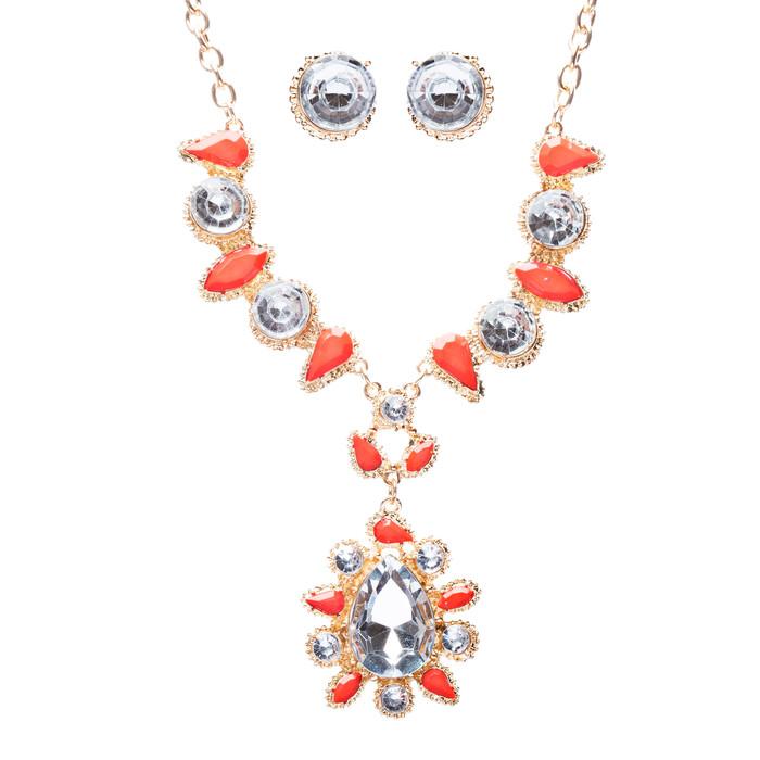 Modern Fashion Crystal Rhinestone Attractive Tear Drop Necklace JN244 Orange