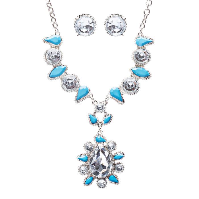 Modern Fashion Crystal Rhinestone Attractive Tear Drop Necklace JN244 Blue