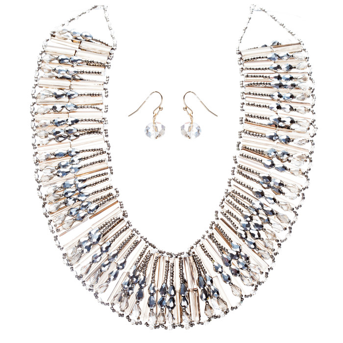 Fashion Chic Ethnic Beaded Bib Design Necklace & Earrings Set JN247 Black