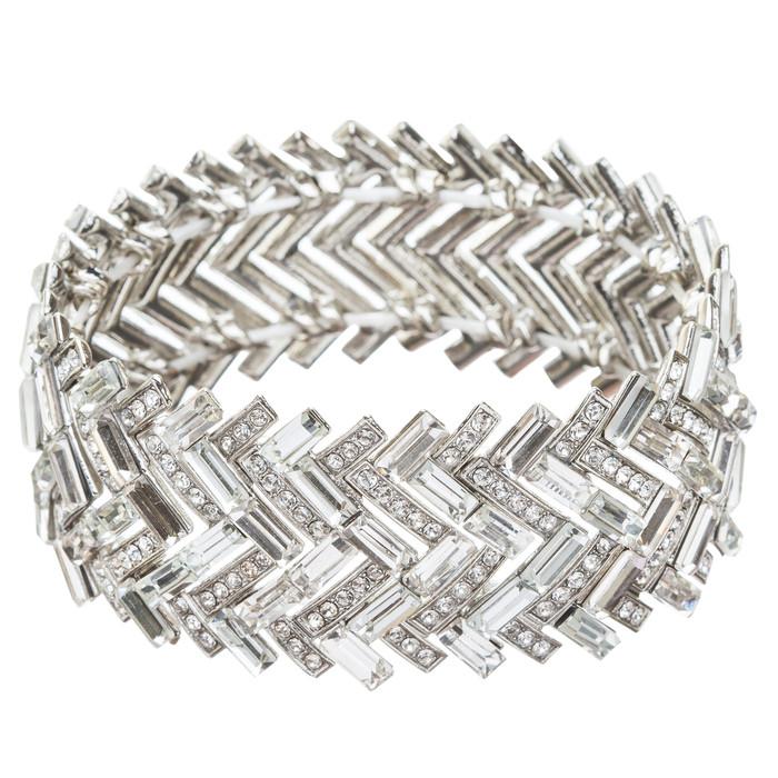Fashion Chic Crystal Rhinestone Dazzling Chevron Design Bracelet B424 Silver