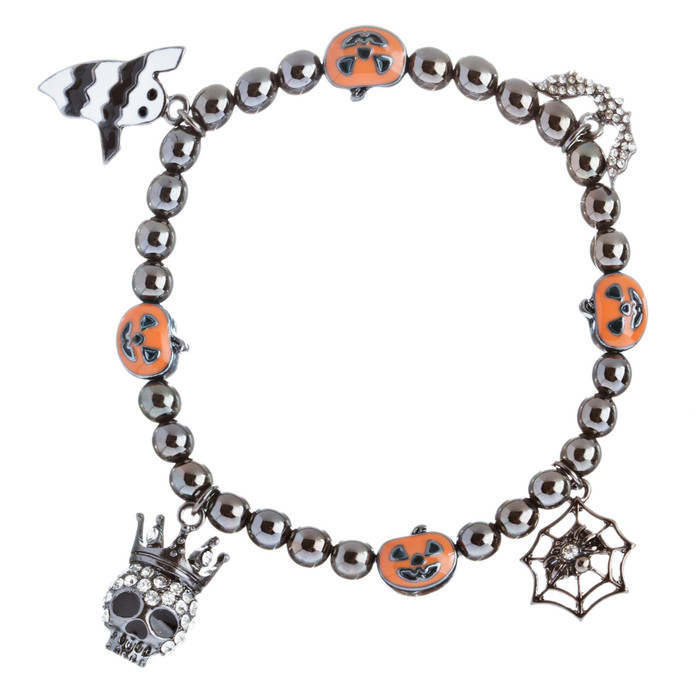 Halloween Costume Jewelry Crystal Rhinestone Amusing Charms Bracelet B425 Black