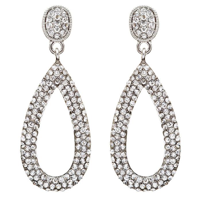Bridal Wedding Jewelry Crystal Rhinestone Charming Tear Drop Earrings E735Silver
