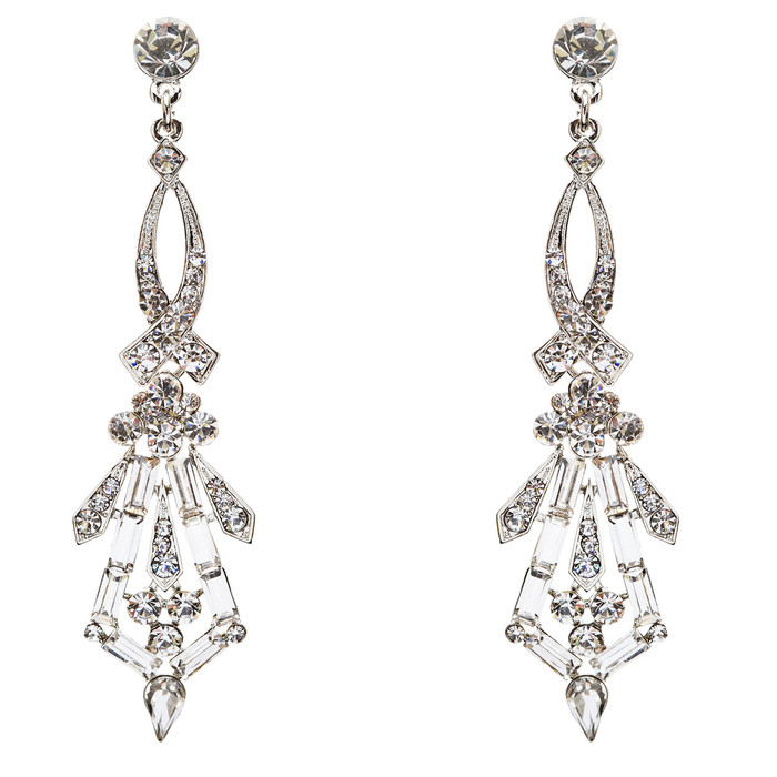 Bridal Wedding Jewelry Crystal Rhinestone Impressive Dangle Earrings E741 Silver