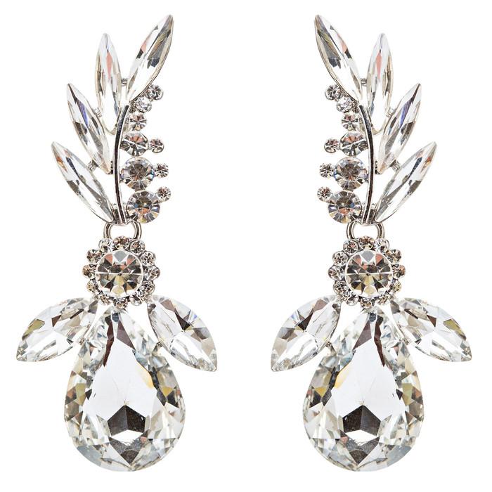 Bridal Wedding Jewelry Crystal Rhinestone Lavish Design Earrings E742 Silver
