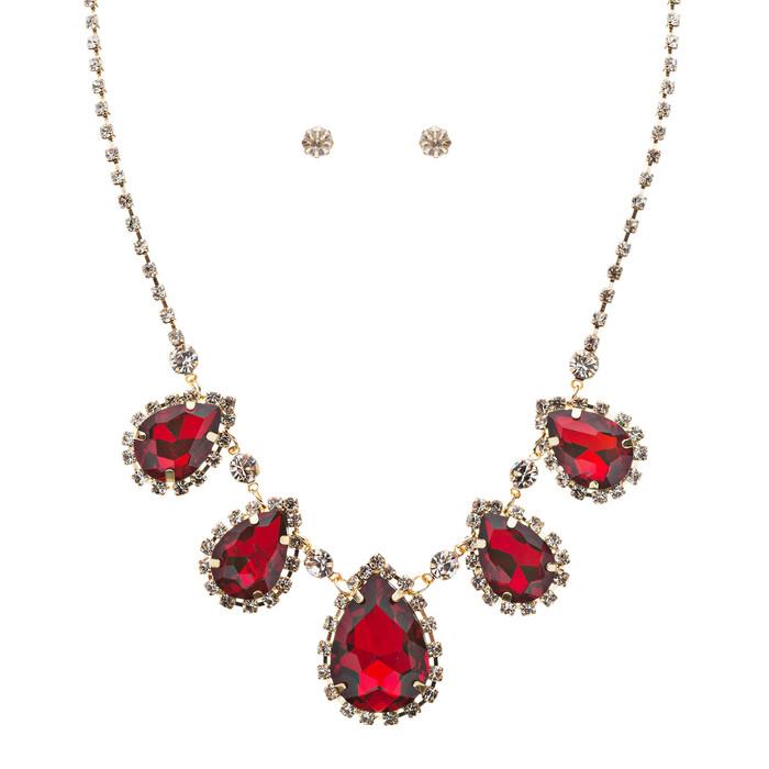 Dazzling Jewelry Set Crystal Rhinestone Elegant Tear Drop Necklace J525 Red
