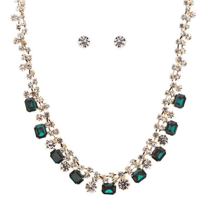 Sparkle Crystal Rhinestone Jewelry Set Beautiful Pattern Necklace J527 Green