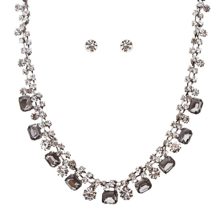 Sparkle Crystal Rhinestone Jewelry Set Beautiful Pattern Necklace J527 Gray