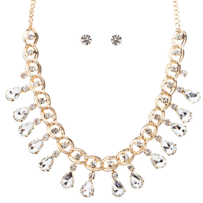 Beautiful Crystal Rhinestone Dazzling Dangling Teardrop Necklace Set J528 Gold