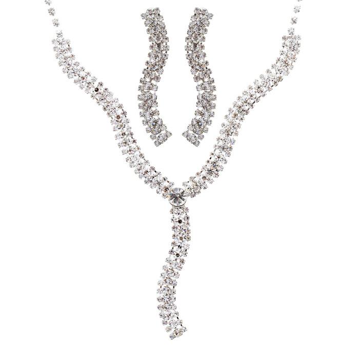 Bridal Wedding Jewelry Crystal Rhinestone Exquisite Design Necklace J535 Silver