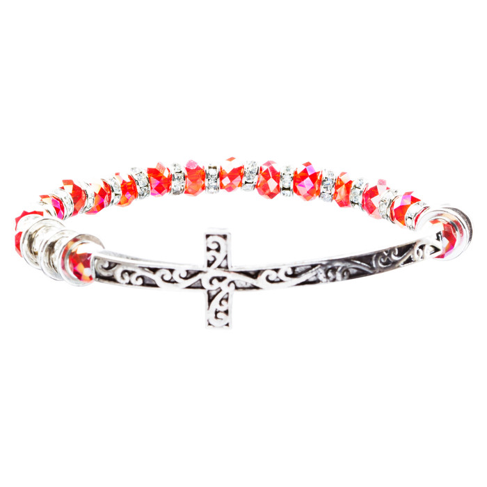 Lovely Crystal Rhinestone Cross Design Fashion Statement Bracelet B472 Red