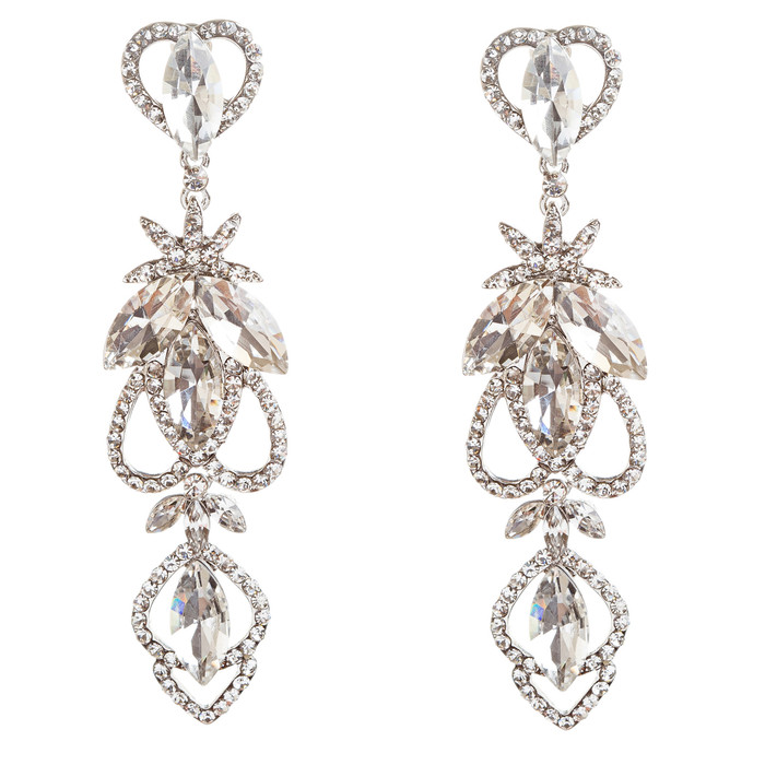 Bridal Wedding Jewelry Crystal Rhinestone Delicate Intricate Earrings E715 SLV